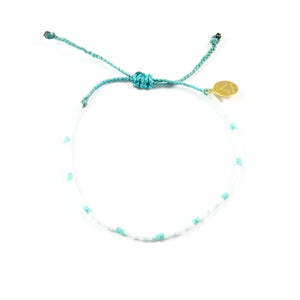 White & Teal Dot Beaded Bracelet