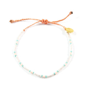 White & Coral Dot Pattern Beaded Bracelet