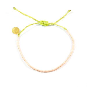 Lime Green & Coral Beaded Simple Bracelet