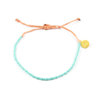 Coral & Teal Beaded Simple Bracelet