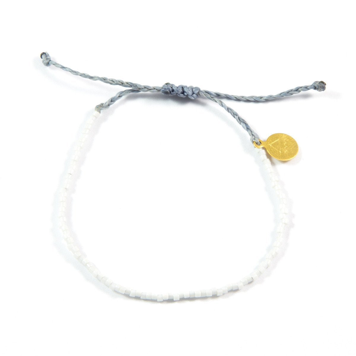 Denim & White Beaded Simple Bracelet