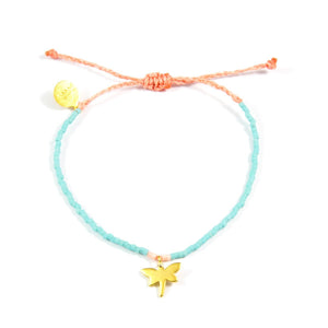 Teal & Light Coral Dragonfly Bracelet