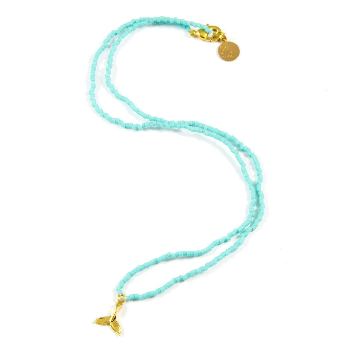 Teal Mermaid Tail Tiny Charm Necklace