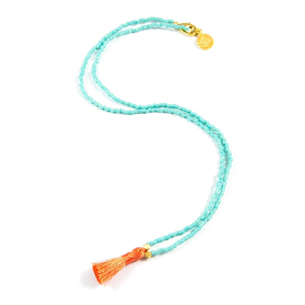 Teal & Dark Coral Mini Tassel Necklace