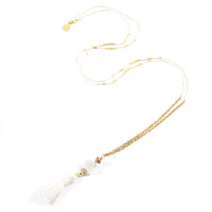 White Party Tassel Necklace