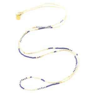 Navy White & Gold Long Beaded Strand