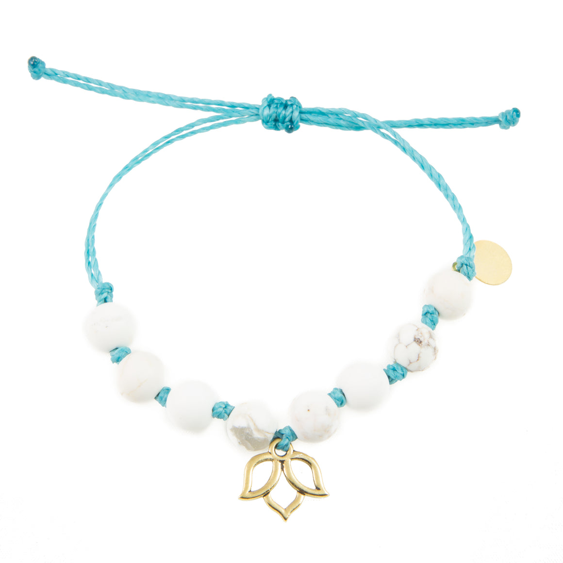Teal & White Turquoise Lotus Flower Bracelet