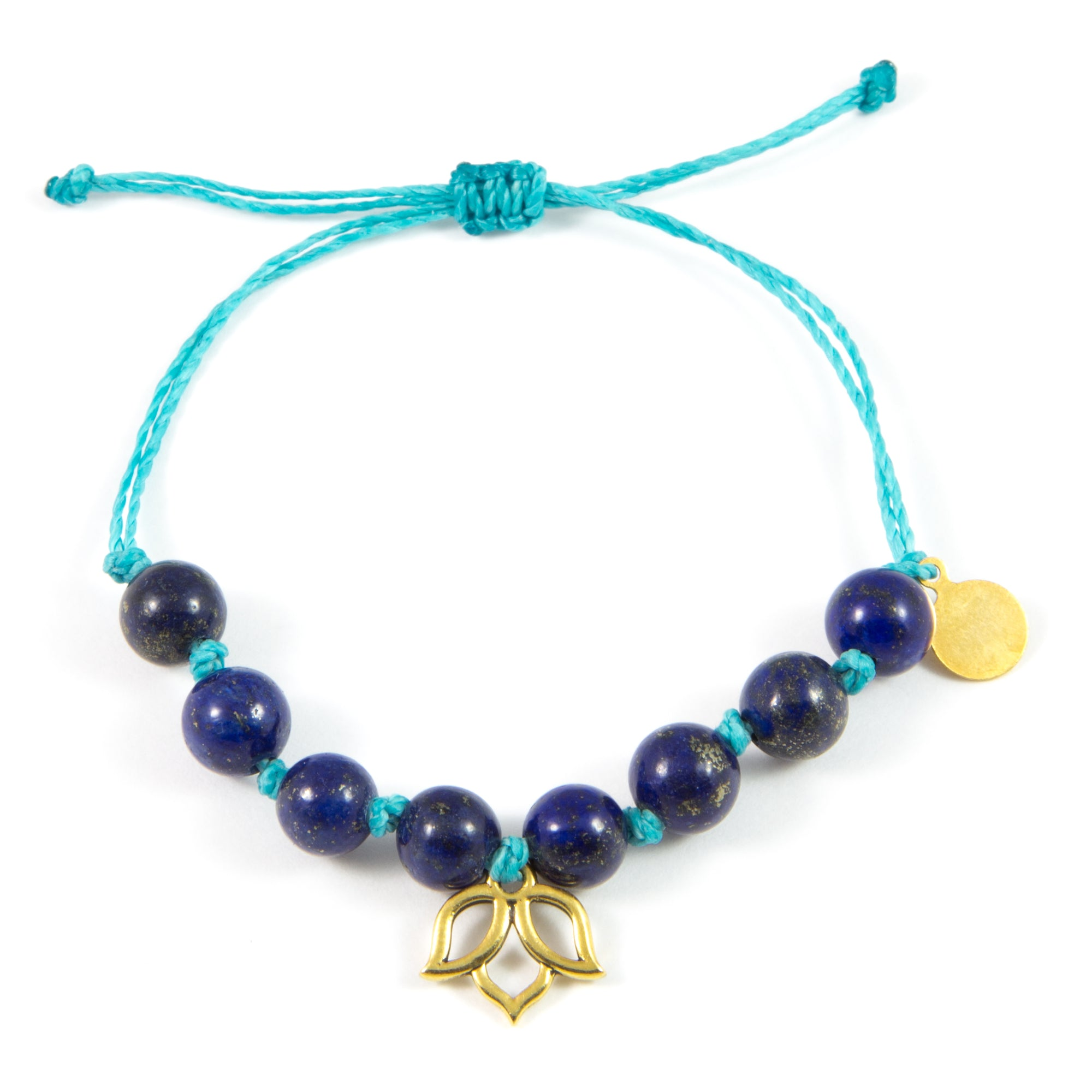 Teal & Blue Lapis Lotus Flower Bracelet