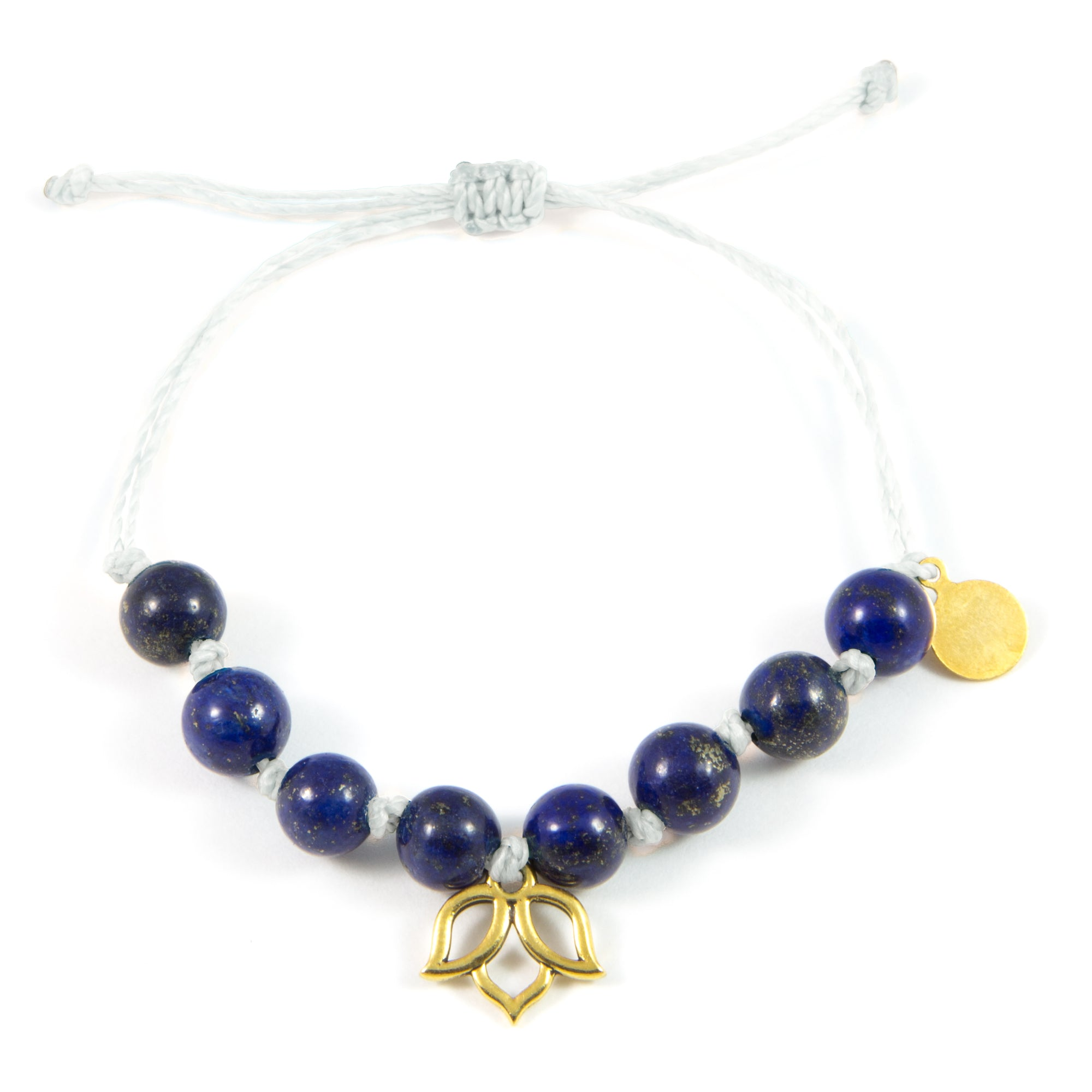 White & Blue Lapis Lotus Flower Bracelet