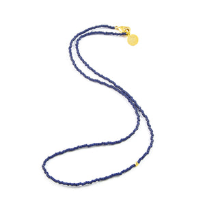 Navy One of a Kind Necklace in Gold
