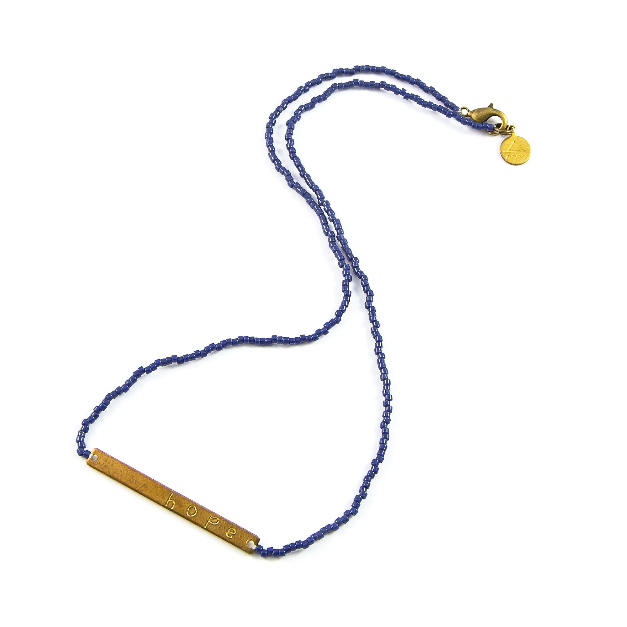 Navy HOPE Bar Necklace