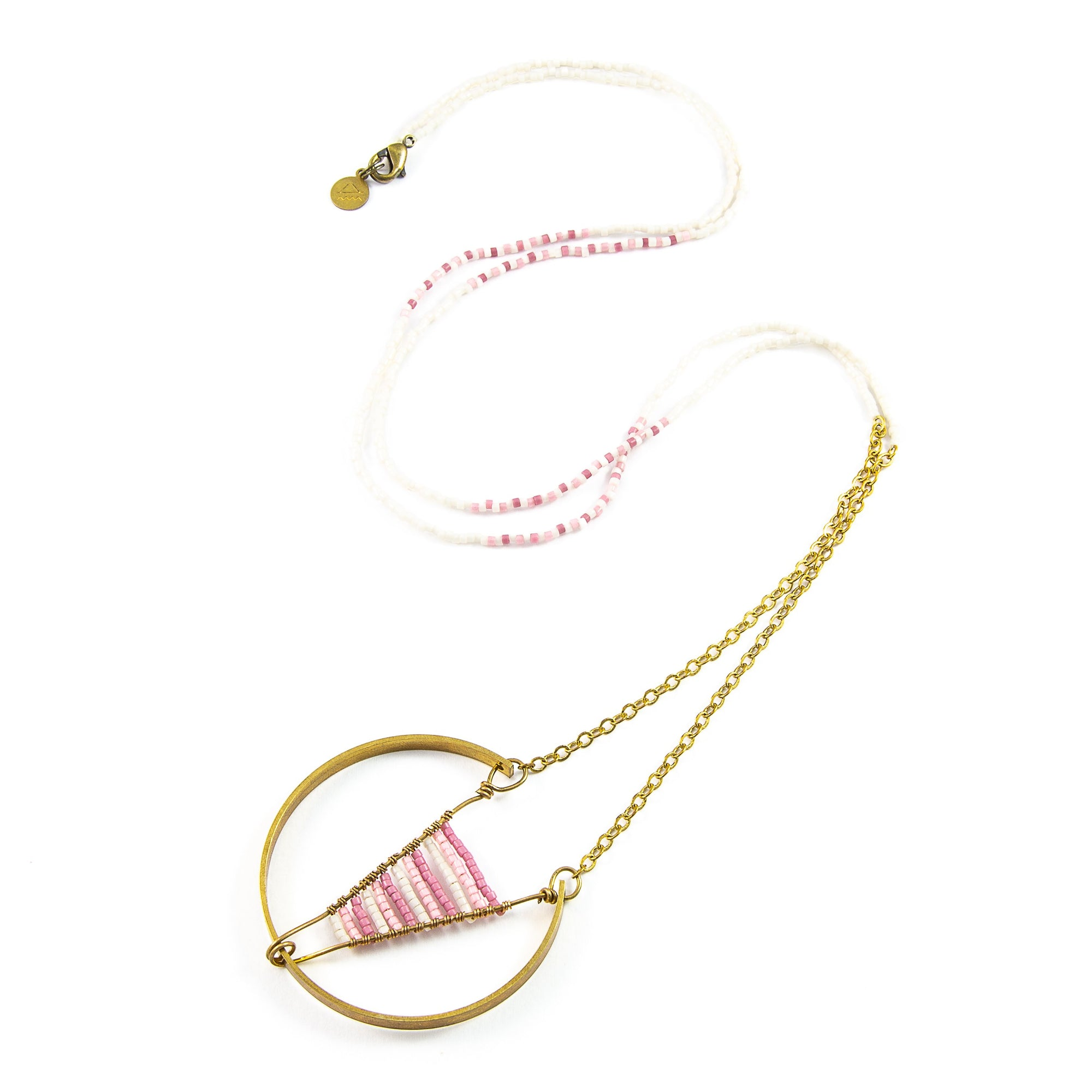 Pinks Woven Broken Circle Necklace