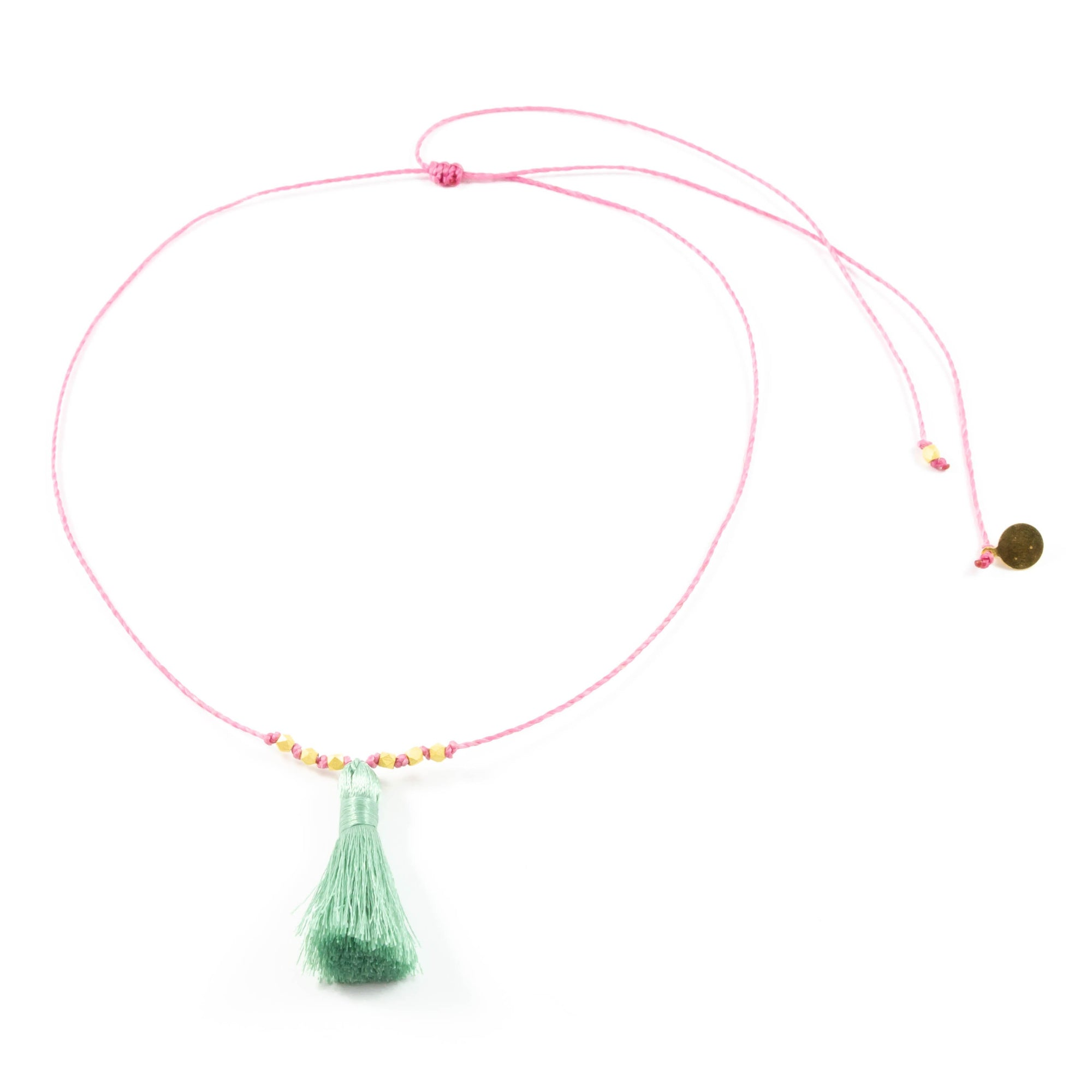 Rose w/ Cucumber Tassel On a String Necklace in Gold