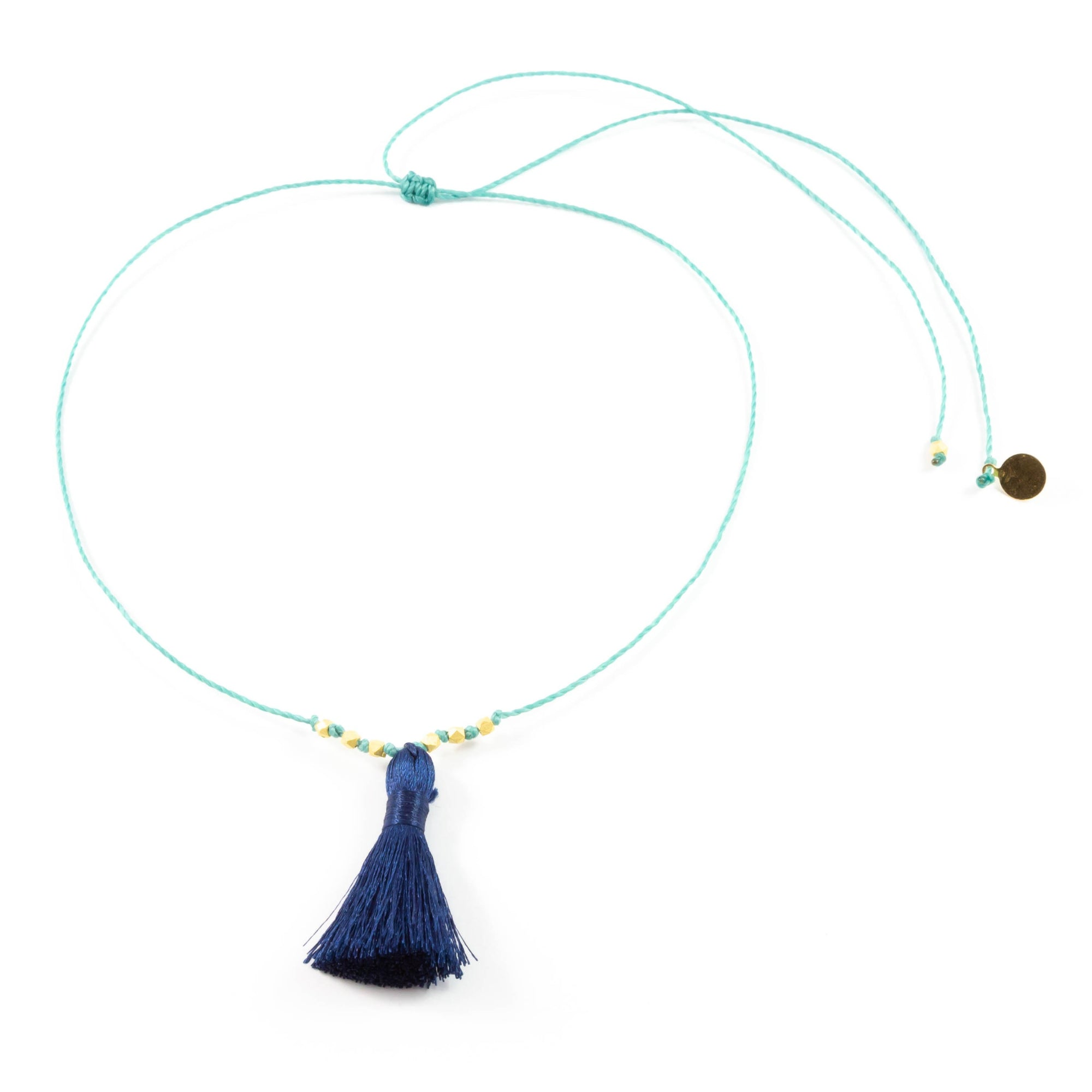 Secret Garden w/ Navy Tassel On a String Necklace in Gold