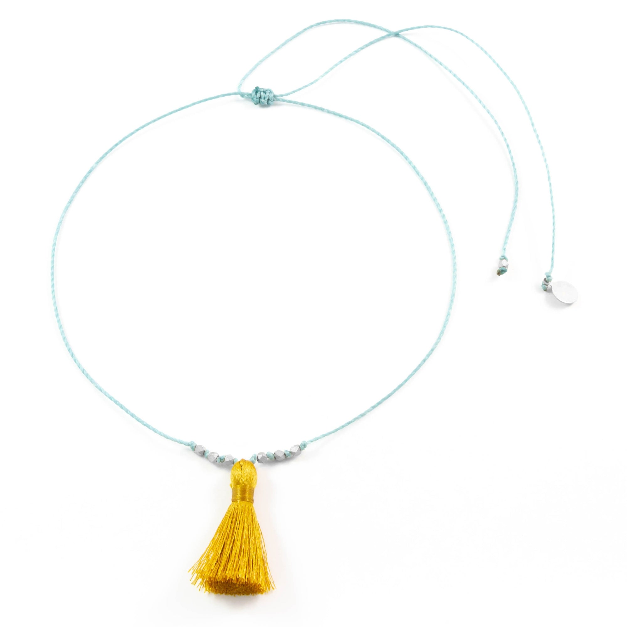 Stormy Ocean w/ Mustard Tassel On a String Necklace in Silver