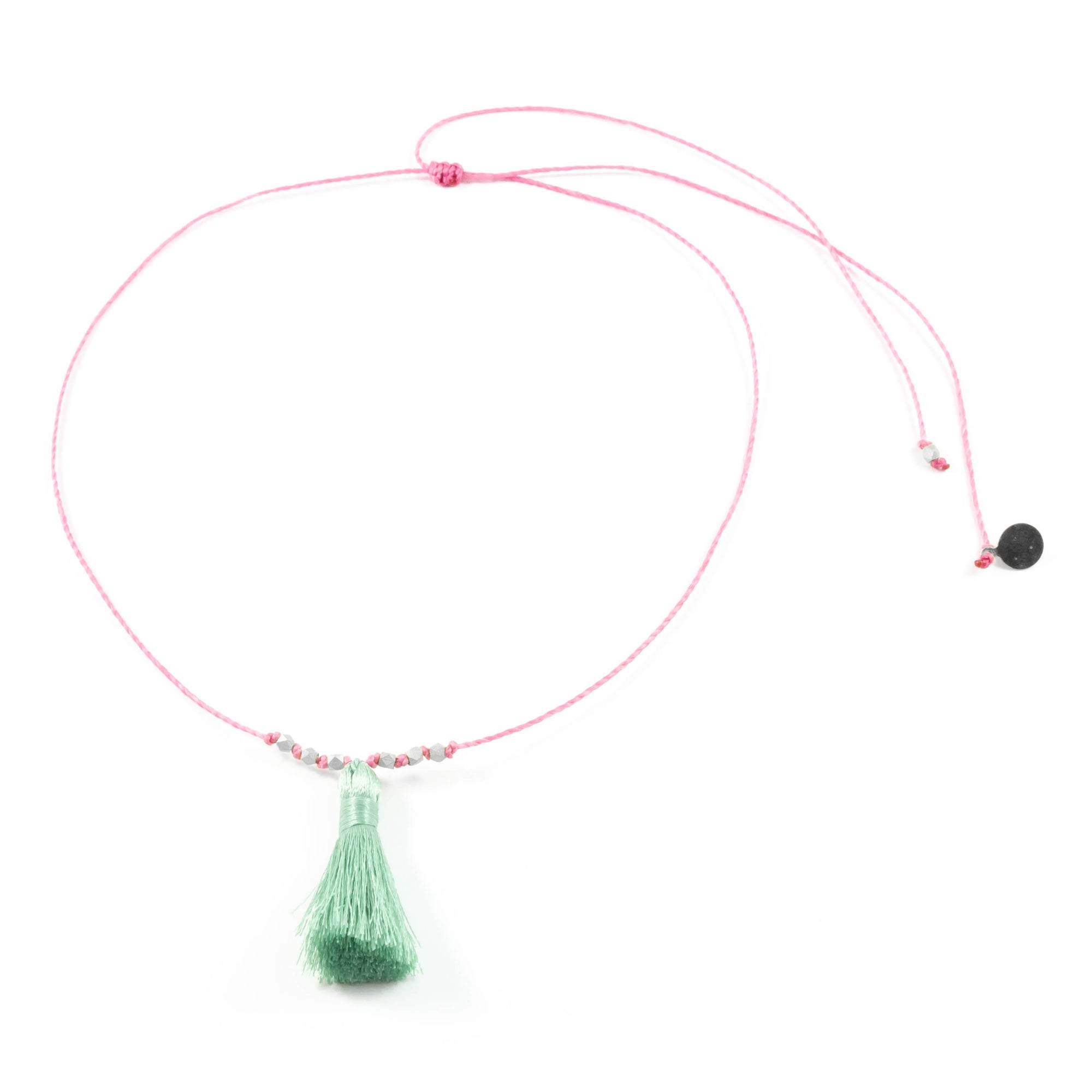 Rose w/ Cucumber Tassel On a String Necklace in Silver