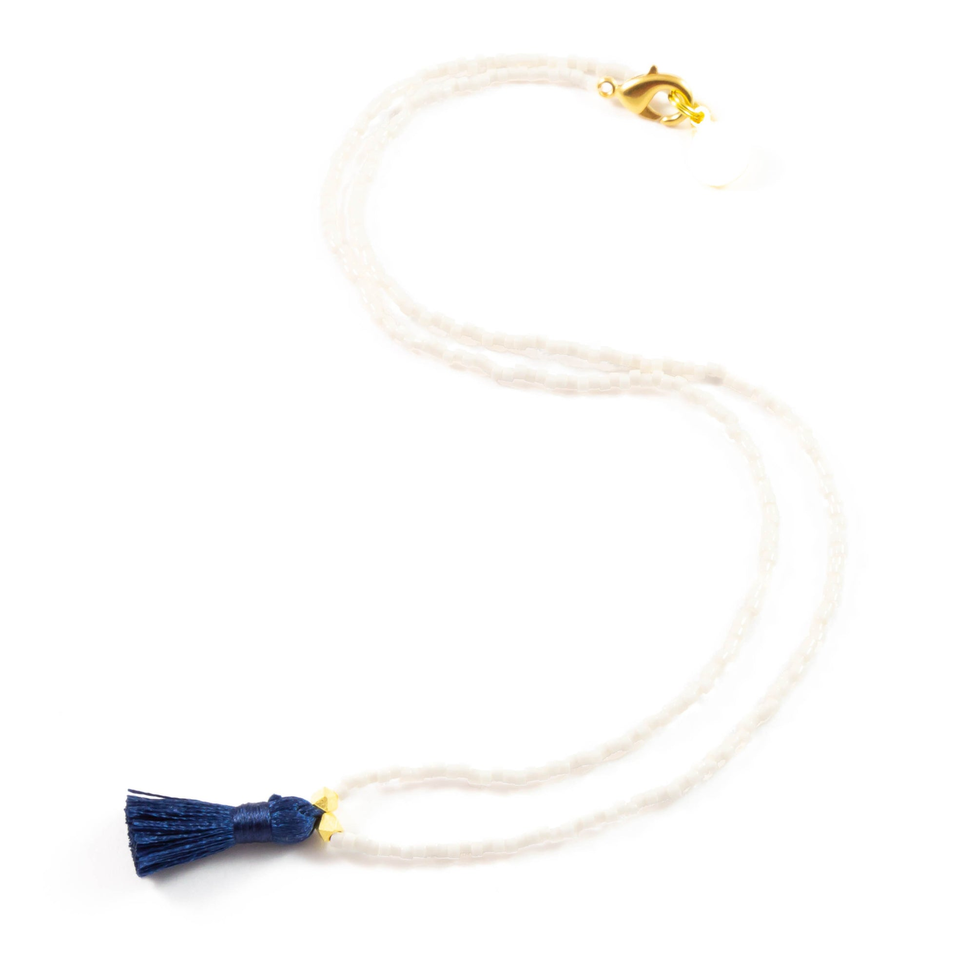 Peachy Cream w/ Navy Mini Tassel