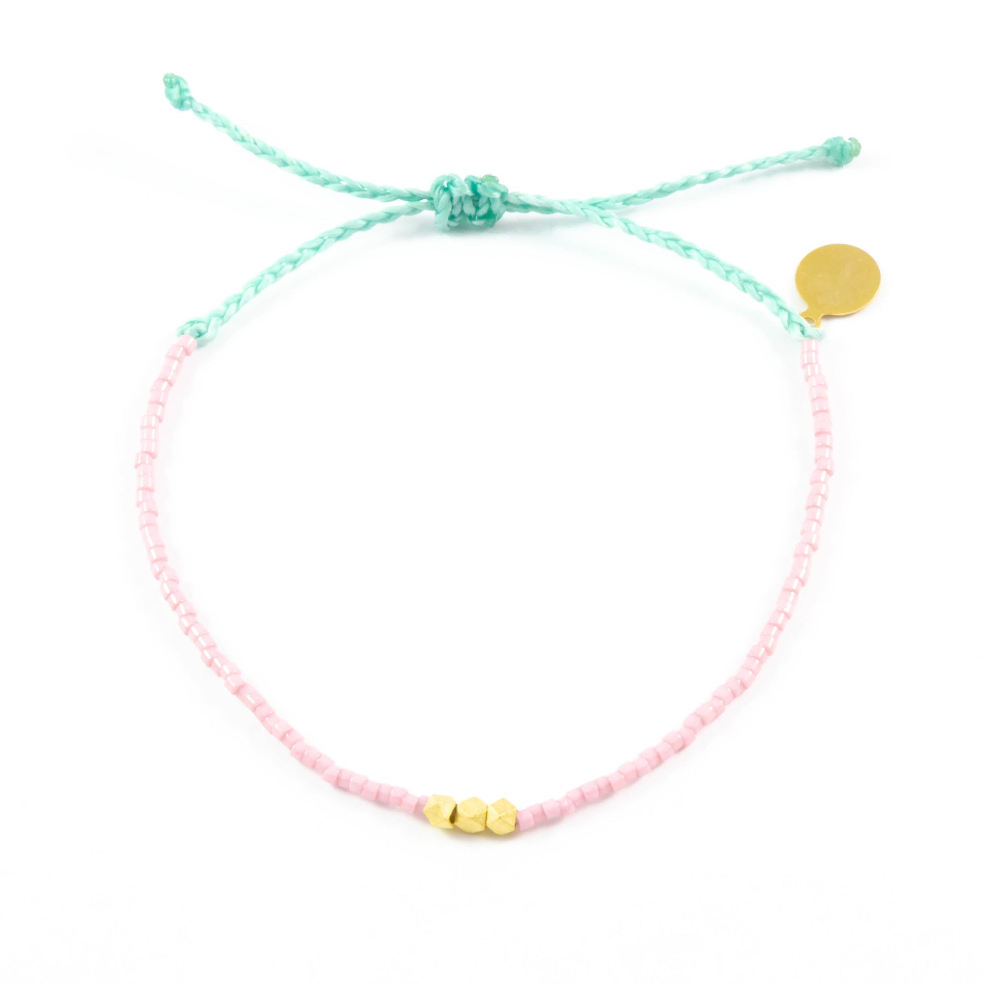 Blush & Cucumber Gold Bead Bracelet