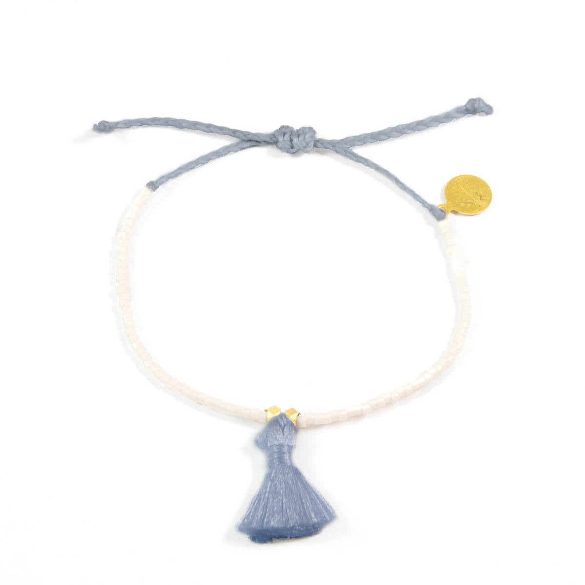 Peachy Cream w/ Denim Tassel Bracelet