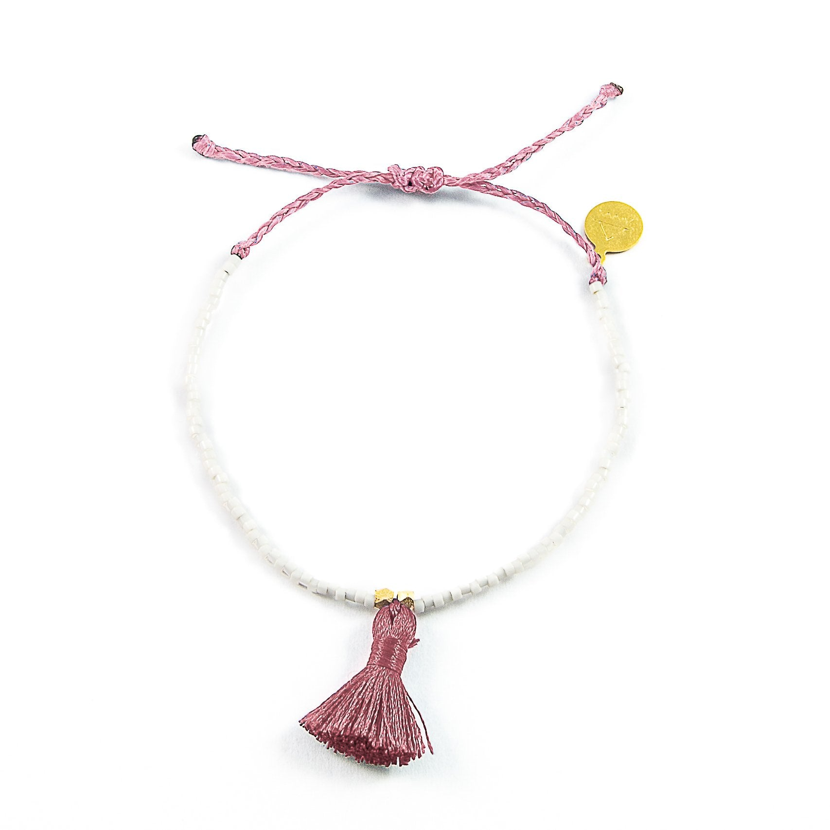 Peachy Cream w/ Rose Tassel Bracelet