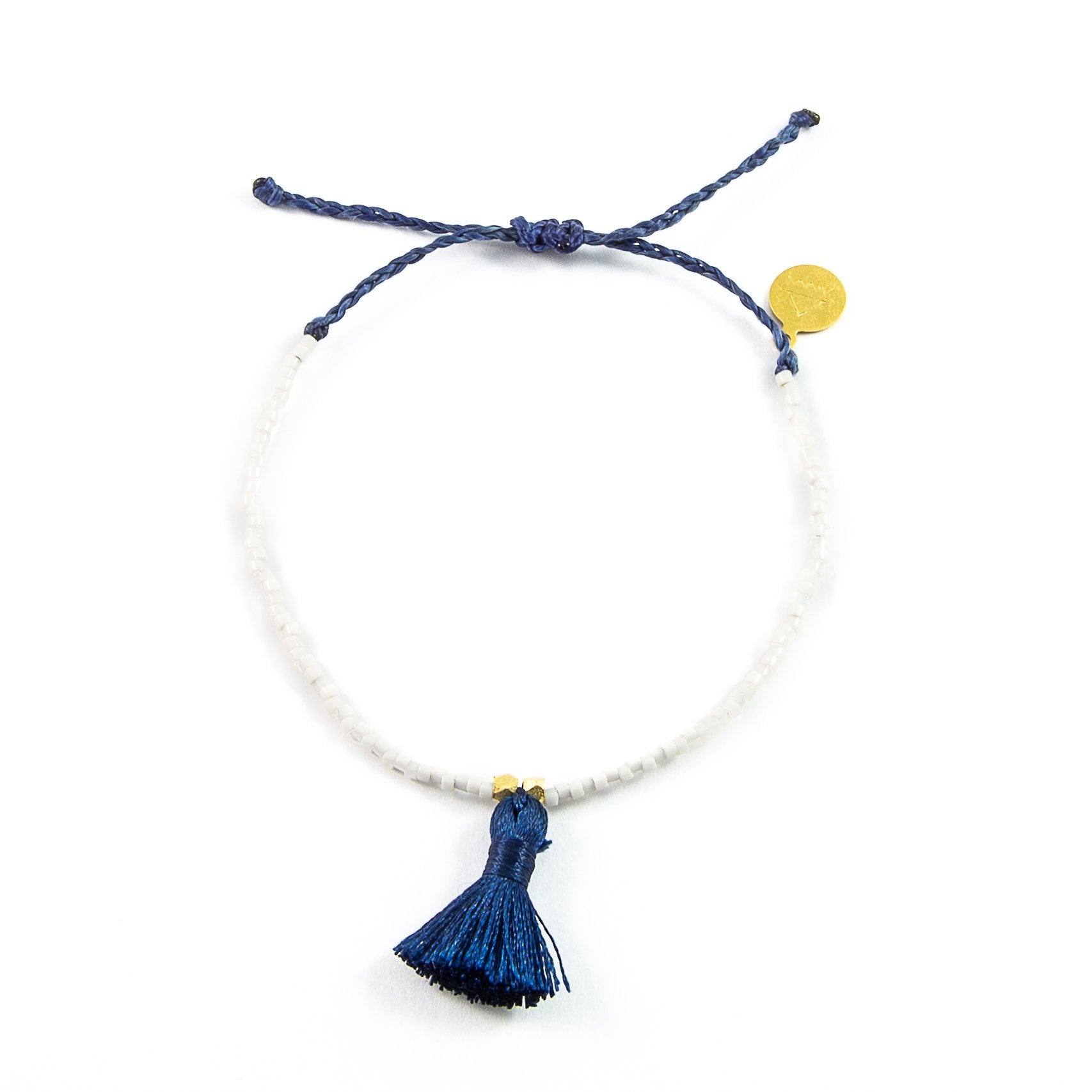 Peachy Cream w/ Navy Tassel Bracelet
