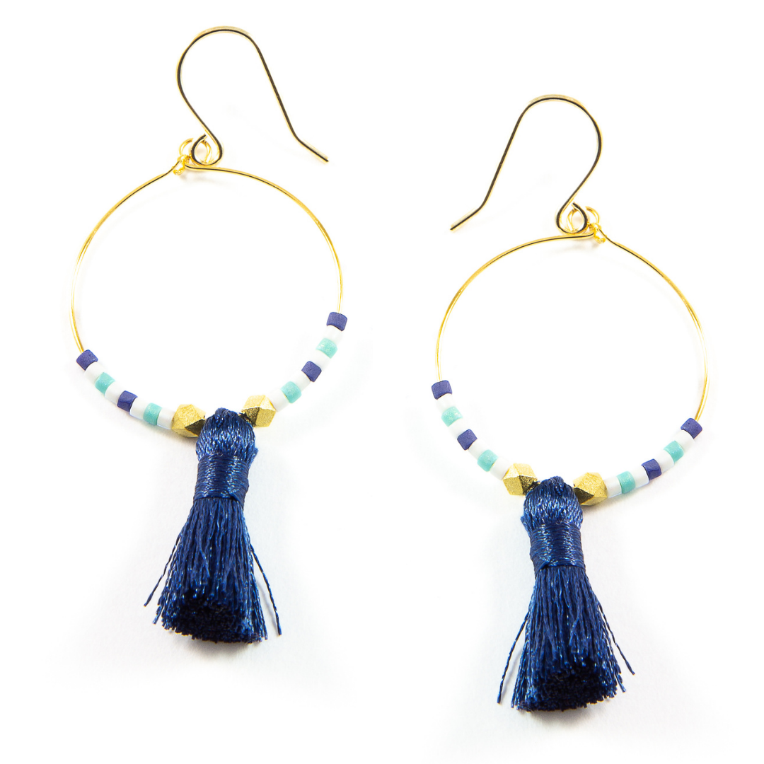 Teal w/ Navy Hoop Tassel Earrings in Gold