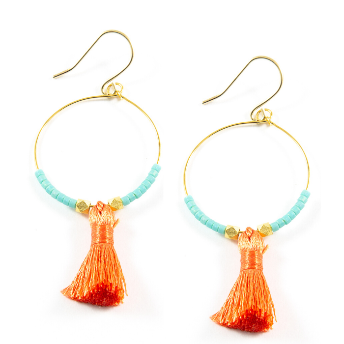 Teal w/ Dark Coral Hoop Tassel Earrings in Gold