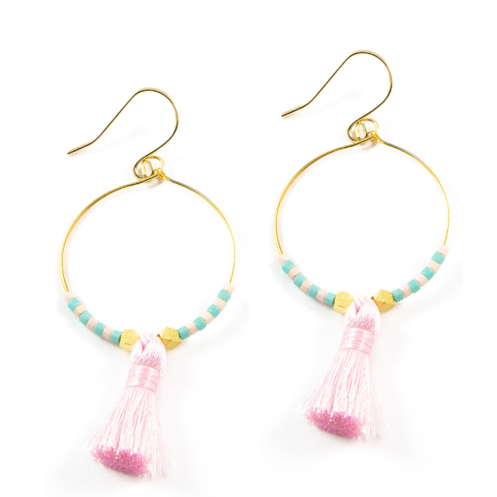 Sunset Pink Hoop Tassel Earrings in Gold
