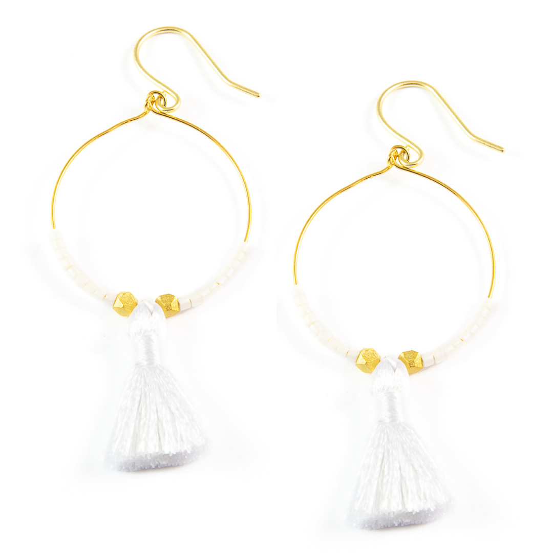 White Hoop Tassel Earrings in Gold
