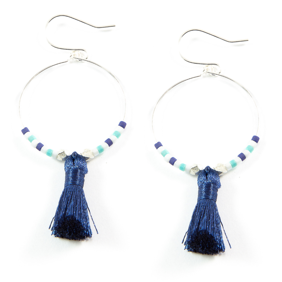 Teal w/ Navy Hoop Tassel Earrings in Silver