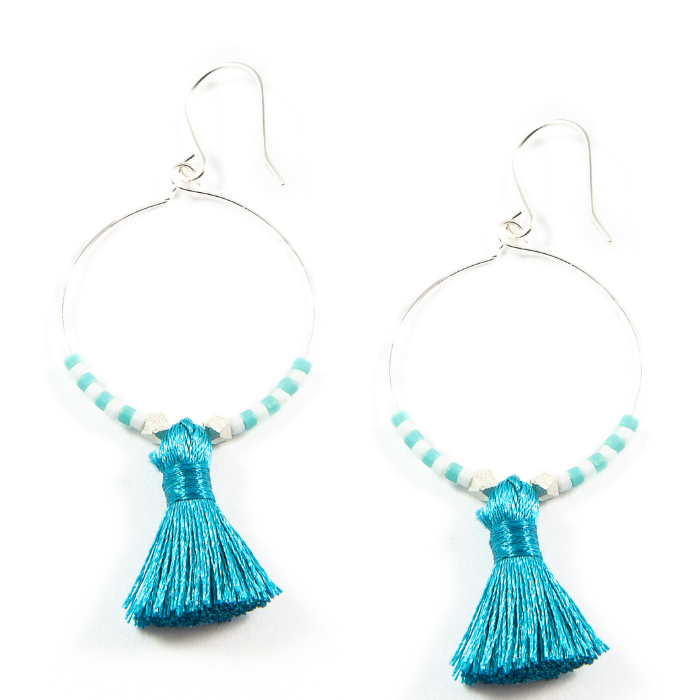 Teal Hoop Tassel Earrings in Silver