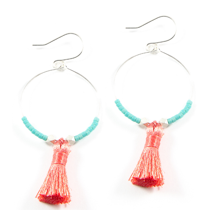 Teal w/ Dark Coral Hoop Tassel Earrings in Silver