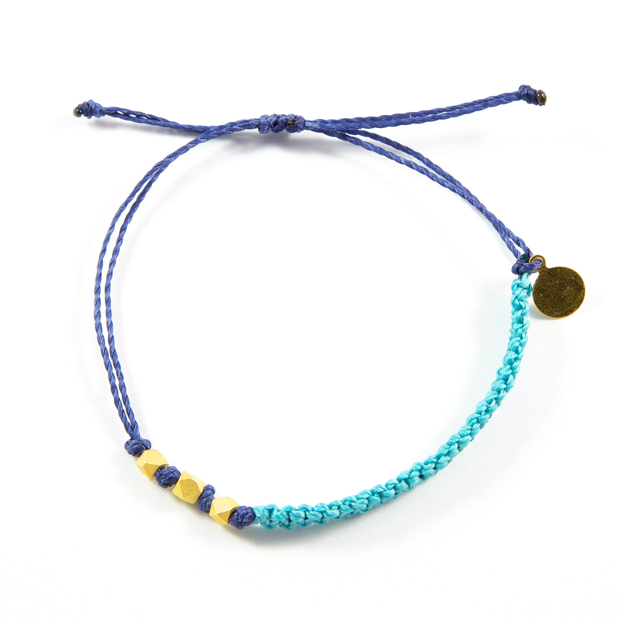 Teal & Navy Macrame Bracelet in Gold