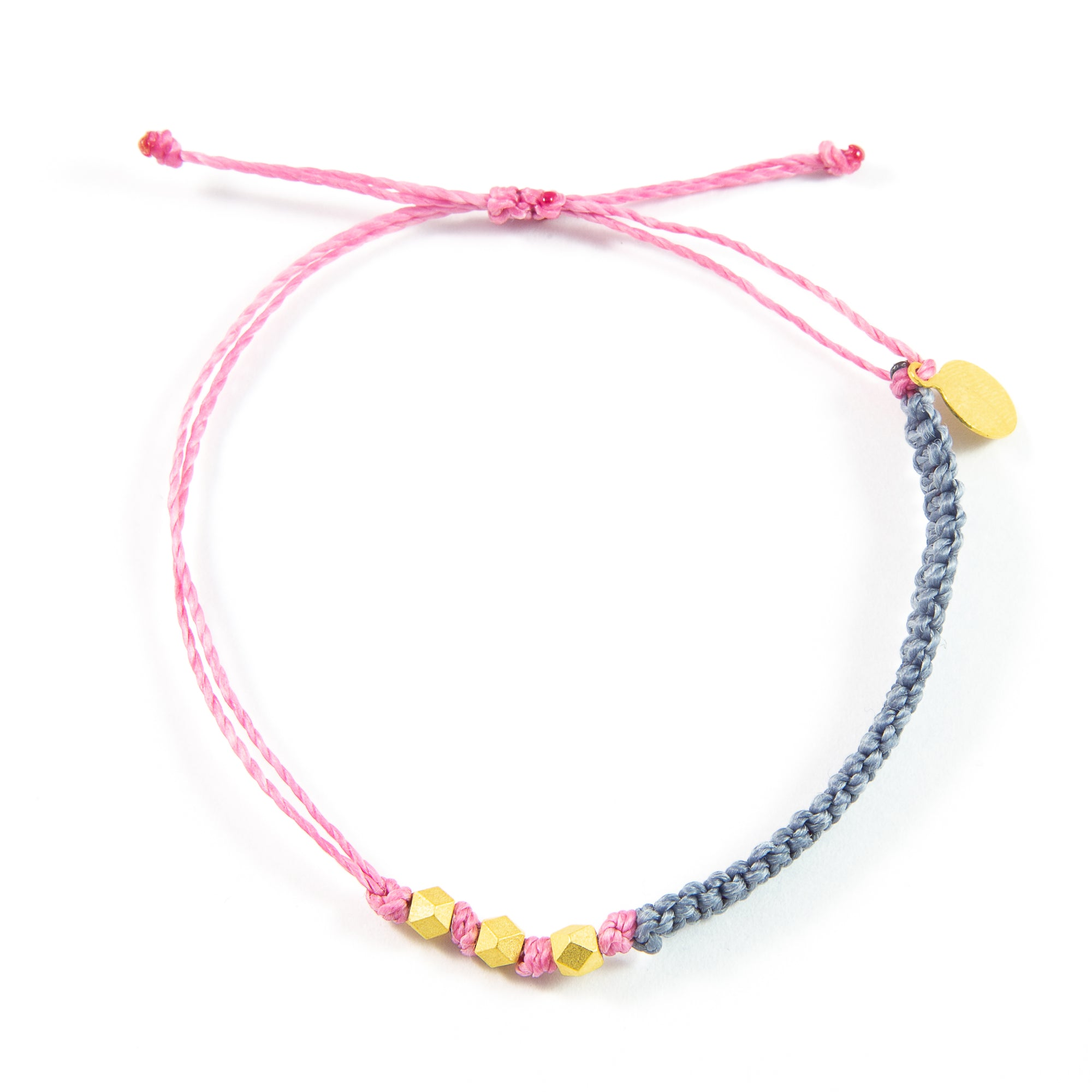 Denim & Rose Macrame Bracelet in Gold