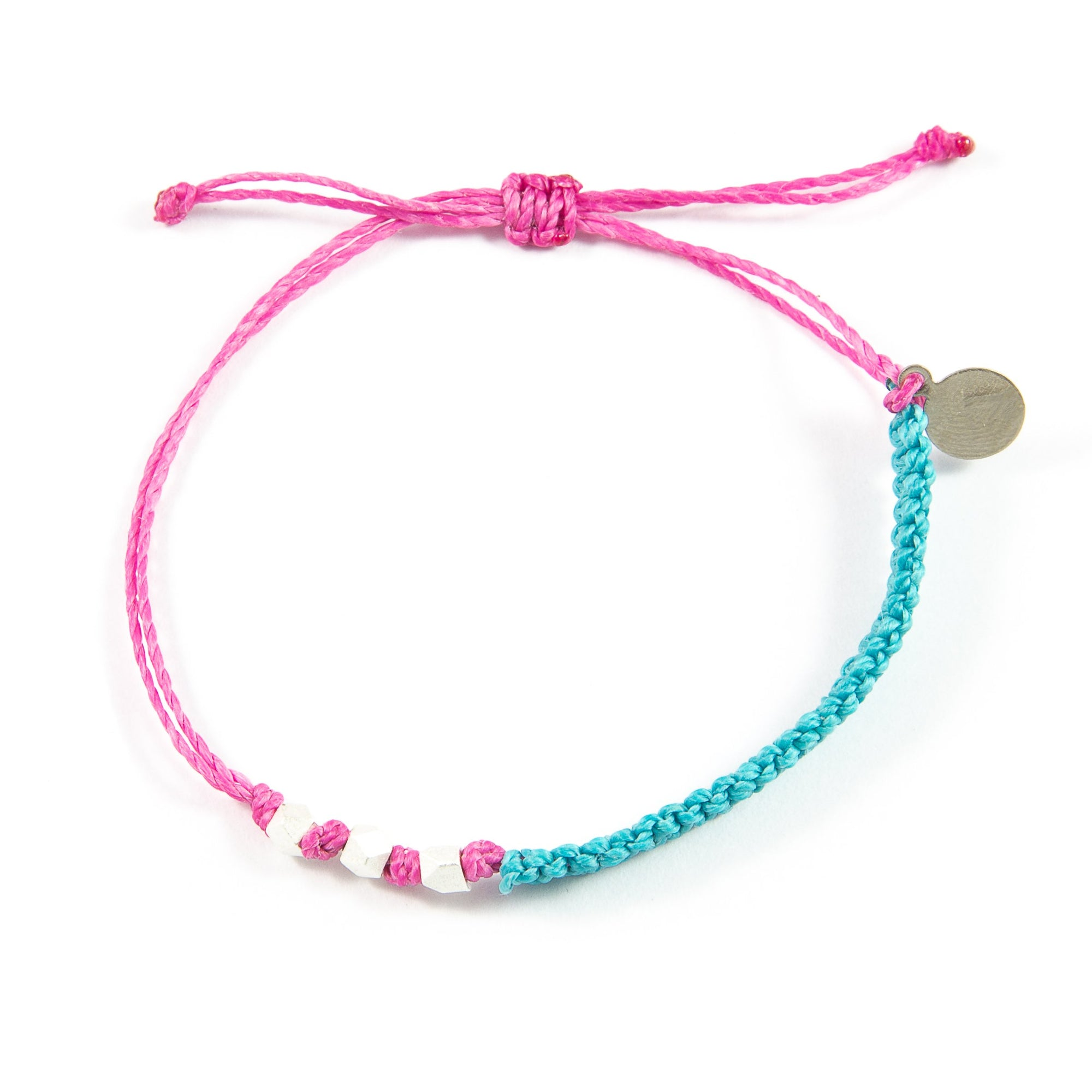 Teal & Rose Macrame Bracelet in Silver