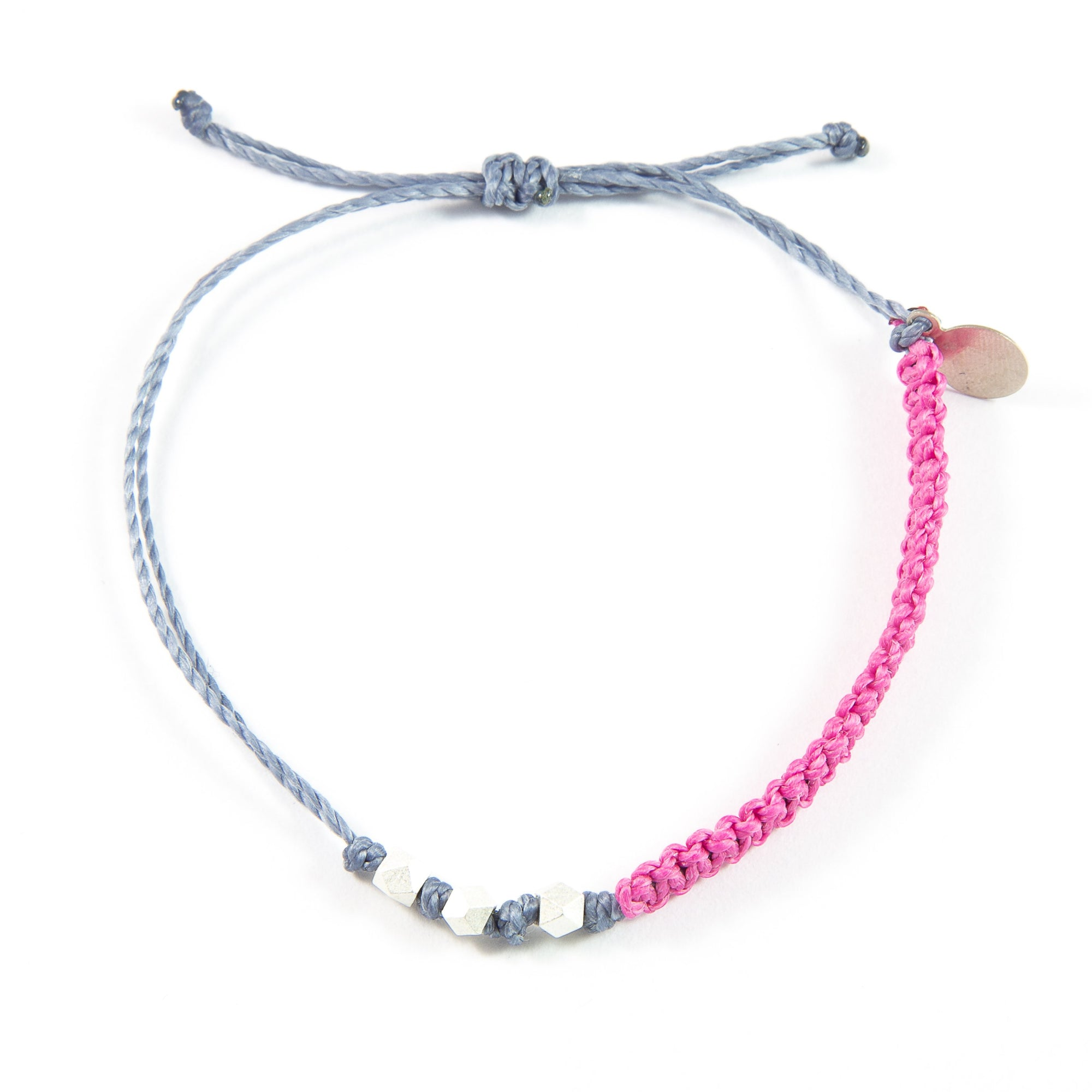 Rose & Denim Macrame Bracelet in Silver