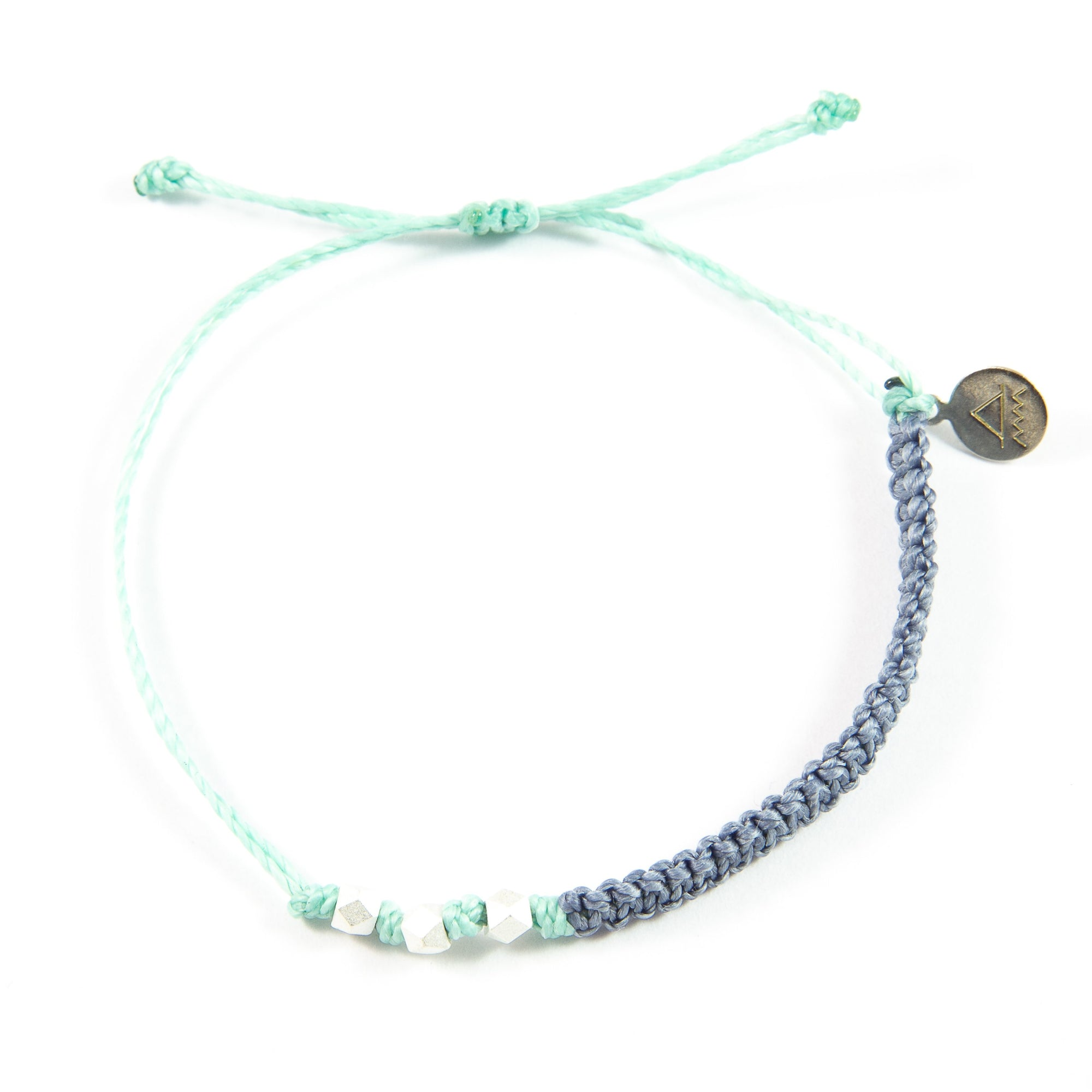 Denim & Cucumber Macrame Bracelet in Silver