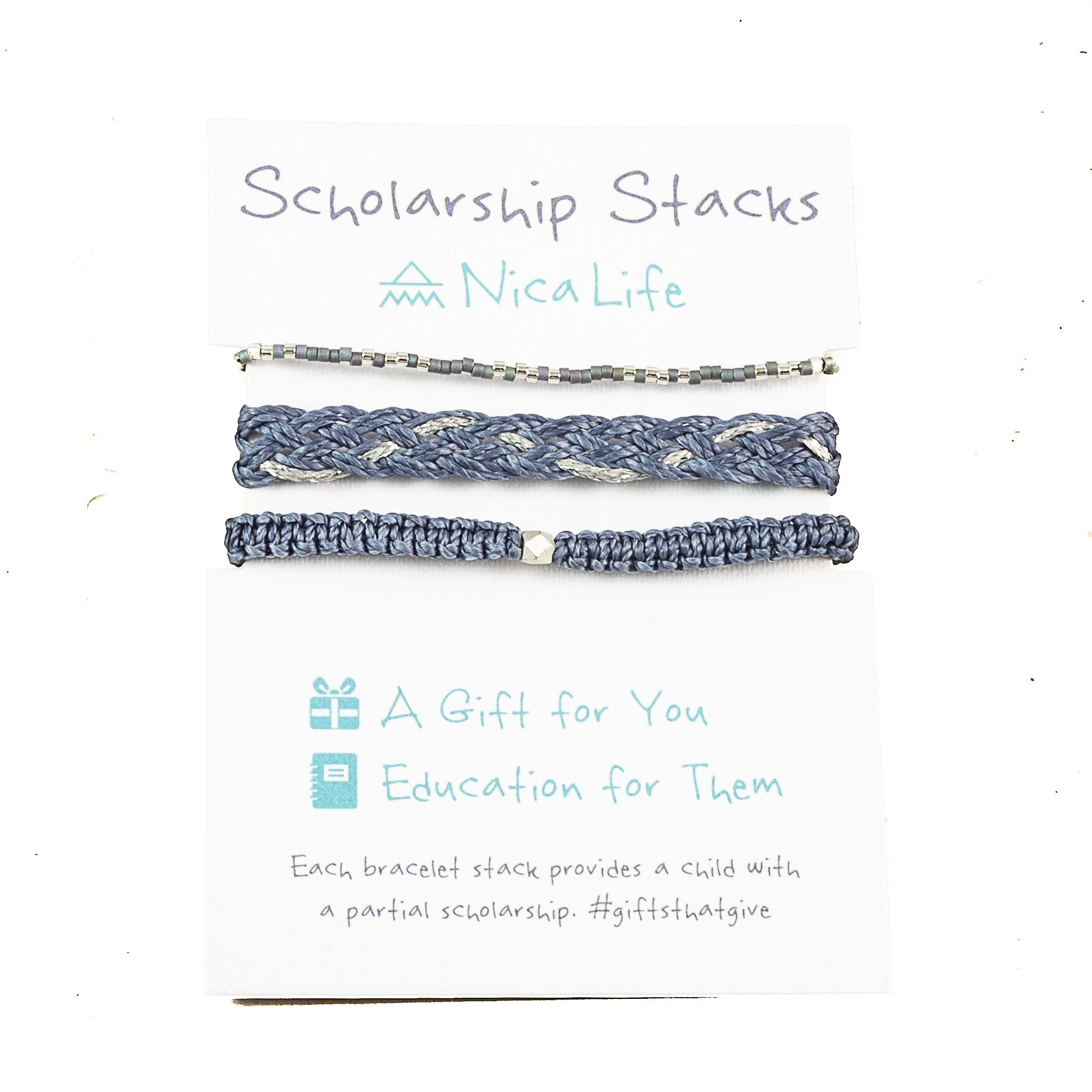 Denim & Silver Bracelet Stack