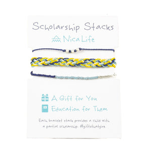 Blues and Sunflower Bracelet Stack