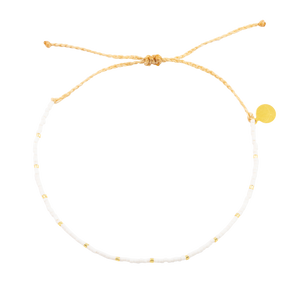 White w/ Gold Dot Beaded Anklet