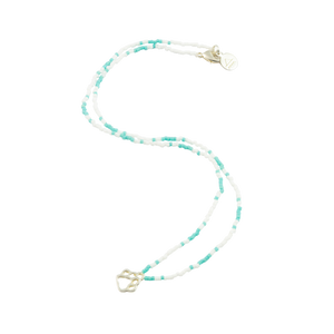 White & Teal Dog Paw Tiny Charm Necklace in Silver