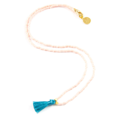 Light Coral and Teal Mini Tassel Necklace