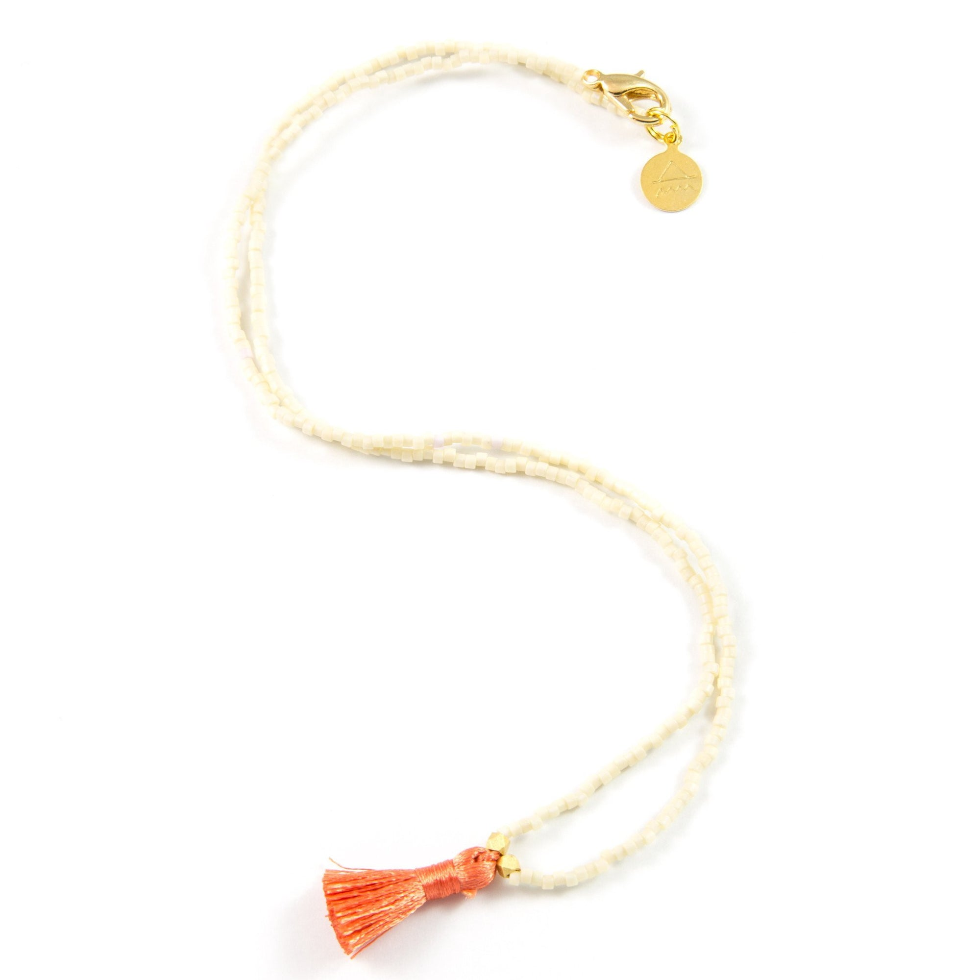 Cream w/ Coral Mini Tassel Necklace