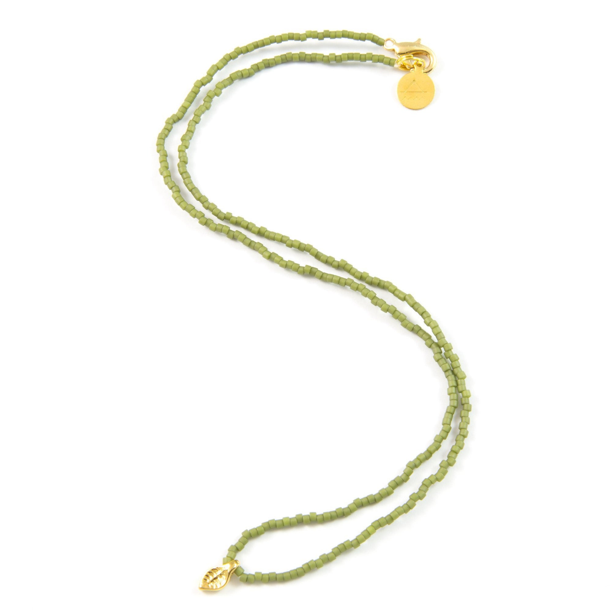 Olive Green Leaf Tiny Charm Necklace
