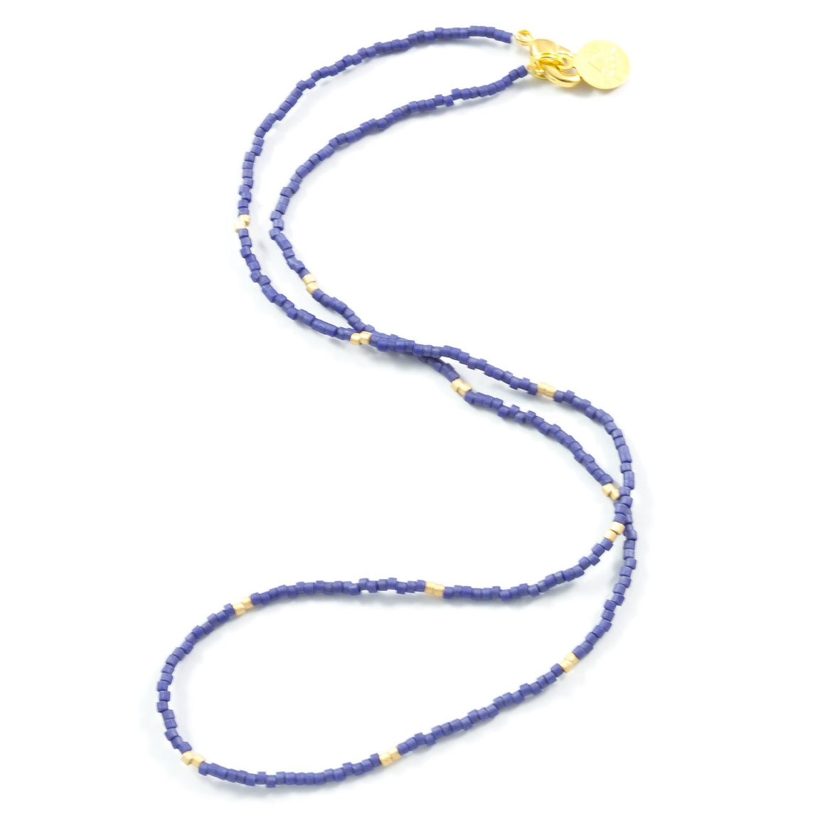 Navy Blue with Gold Dot Necklace