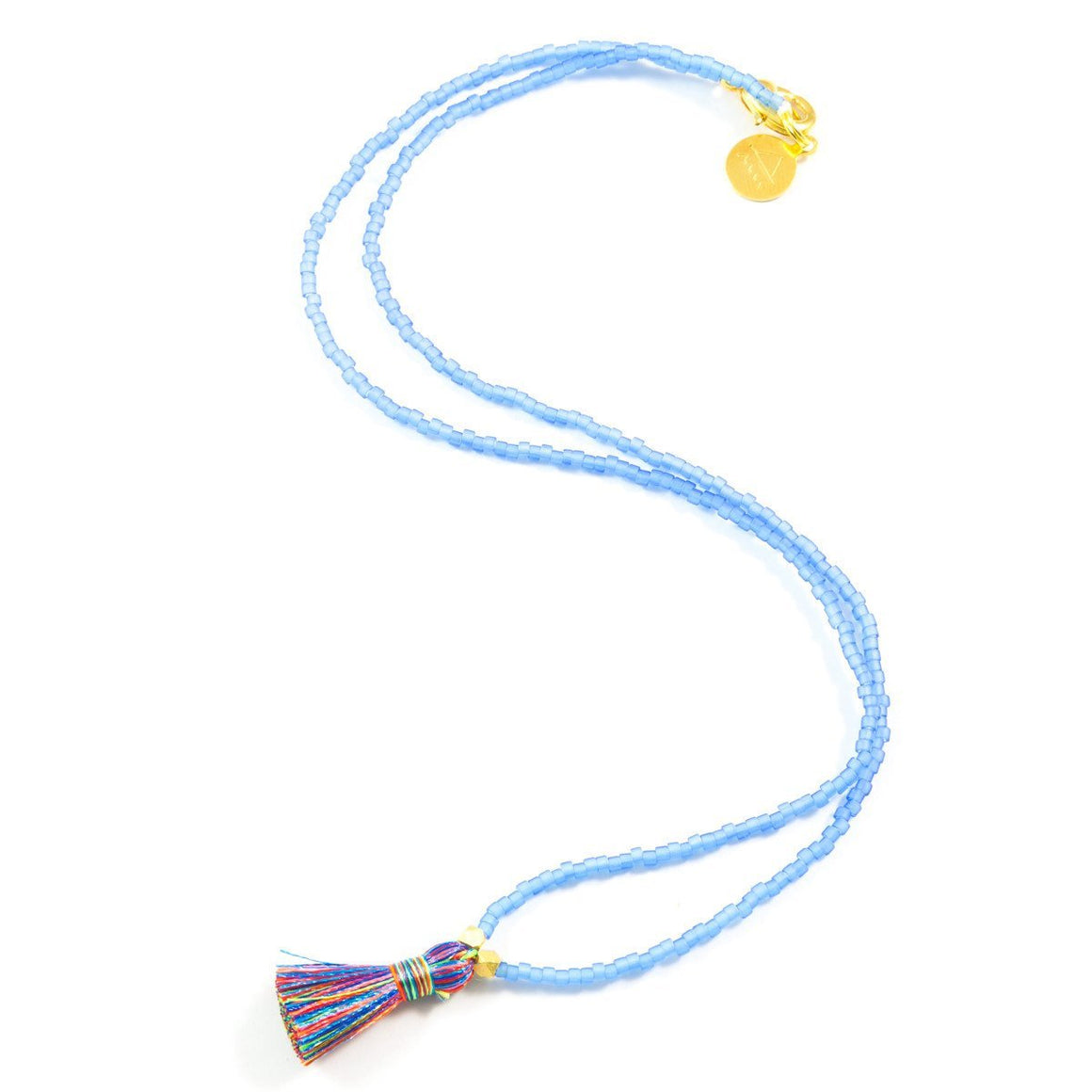 Sea Glass Blue & Multi Color Mini Tassel Necklace