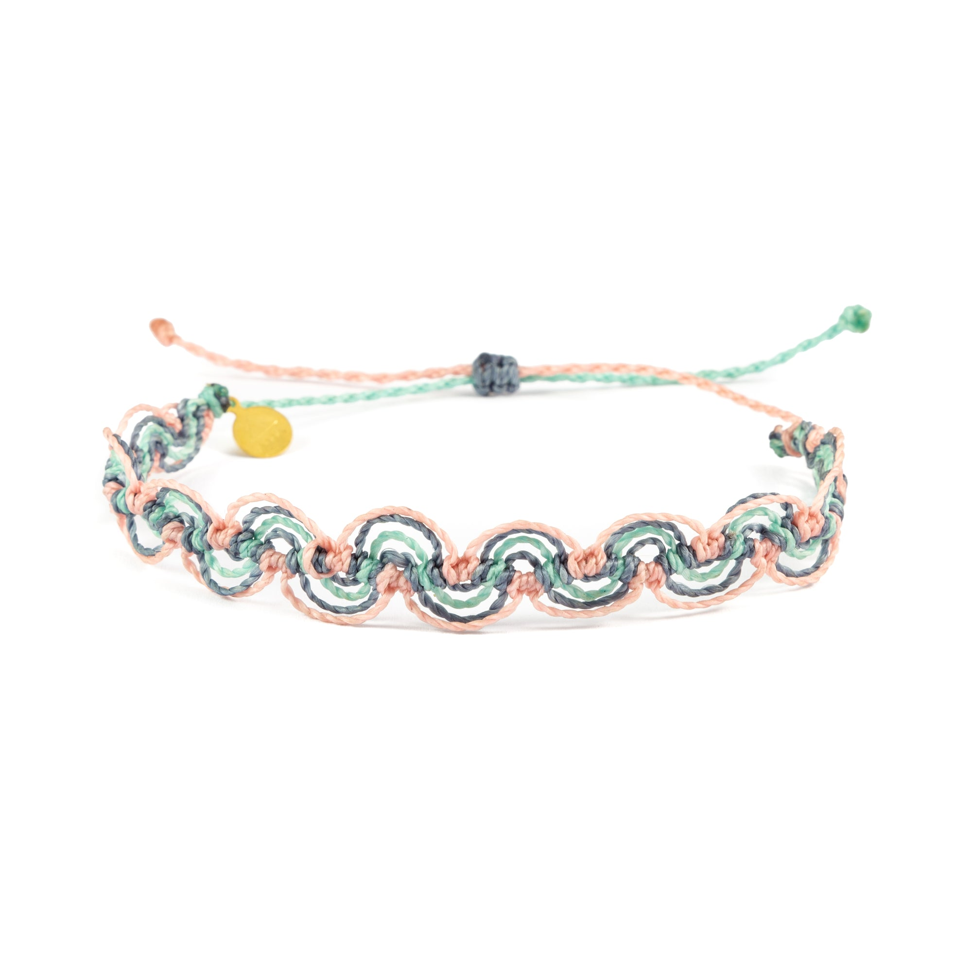 Cucumber, Denim, & Pink Nica Wave Anklet