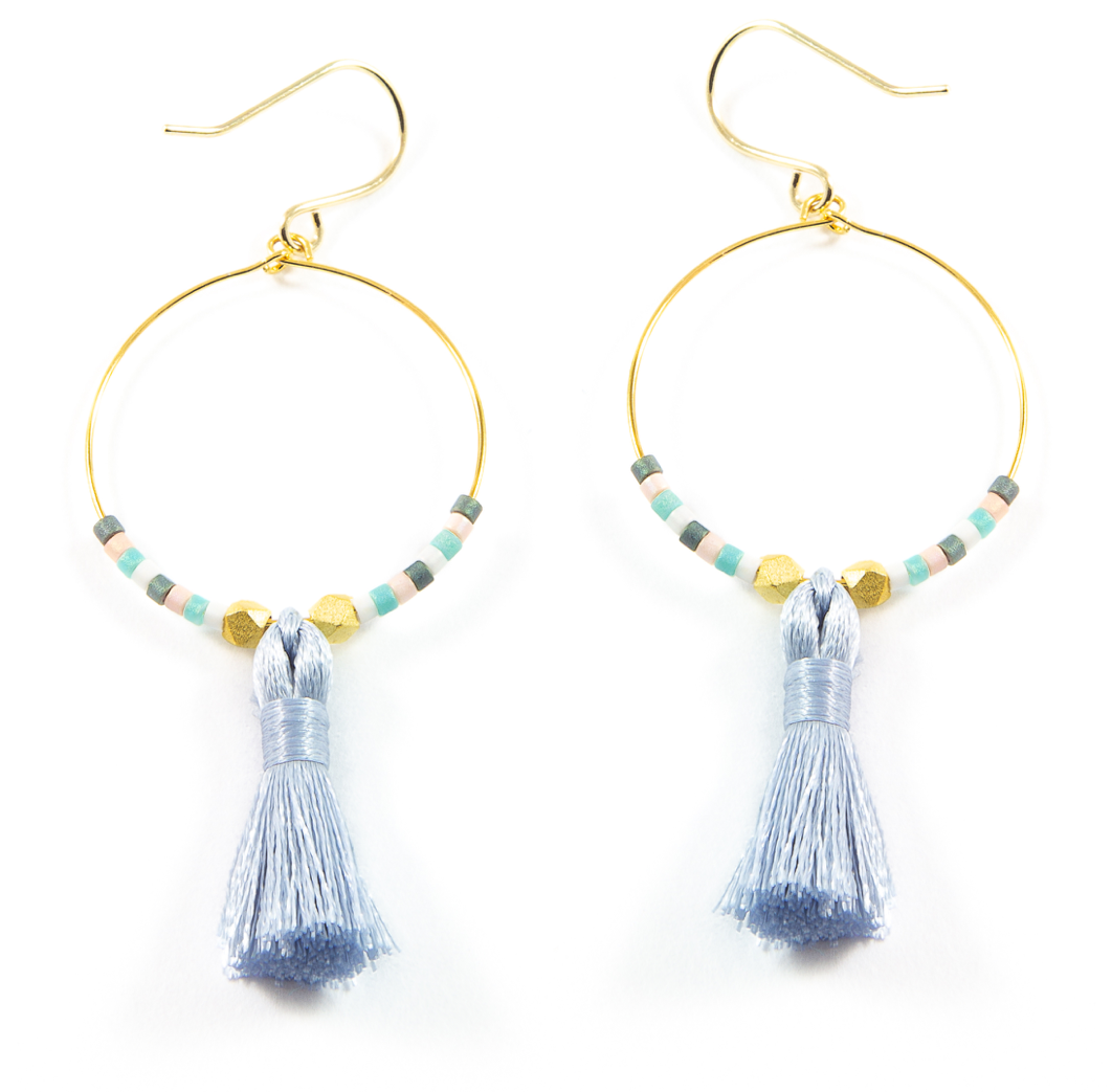 Denim Hoop Tassel Earrings in Gold