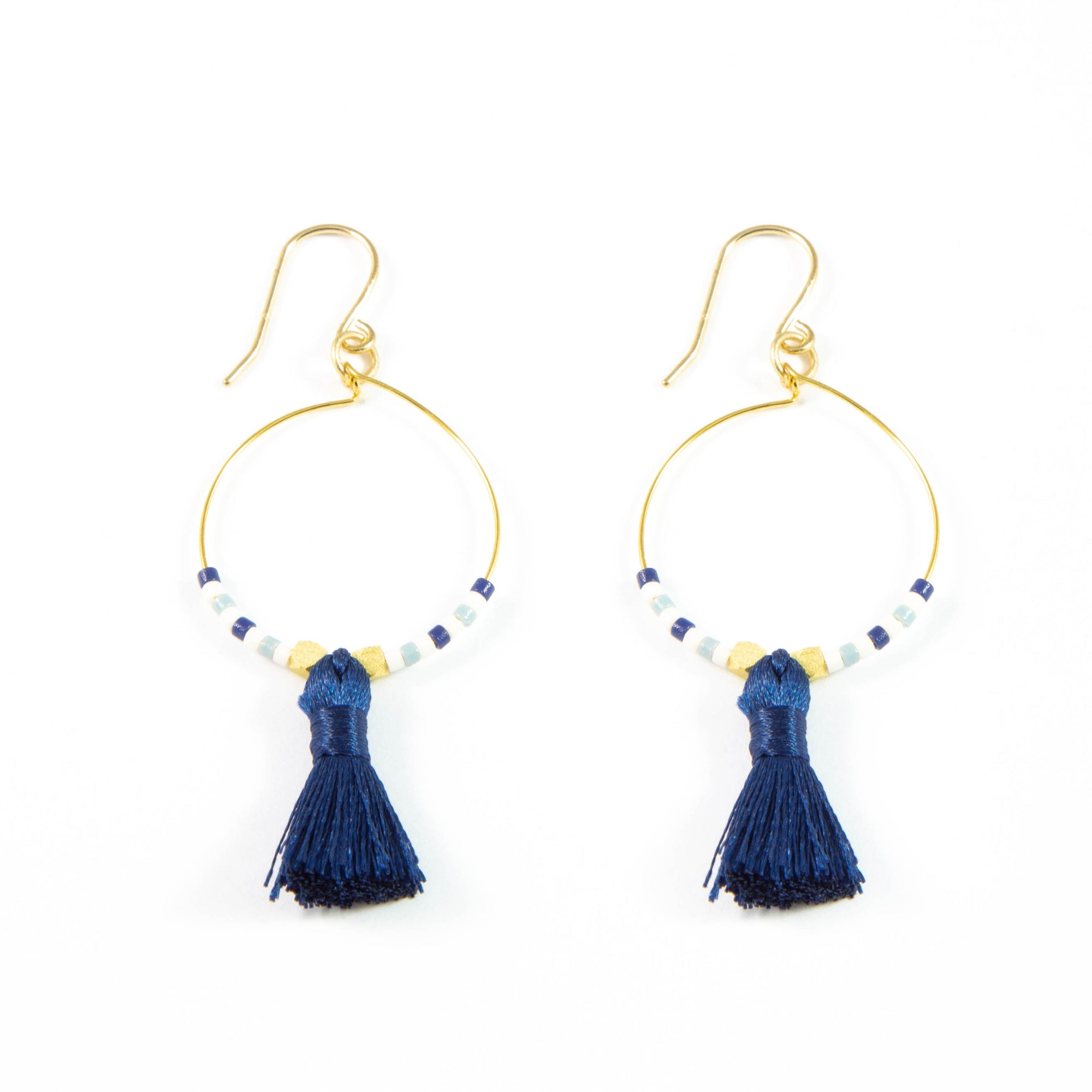 Blues w/ Navy Hoop Tassel Earrings in Gold