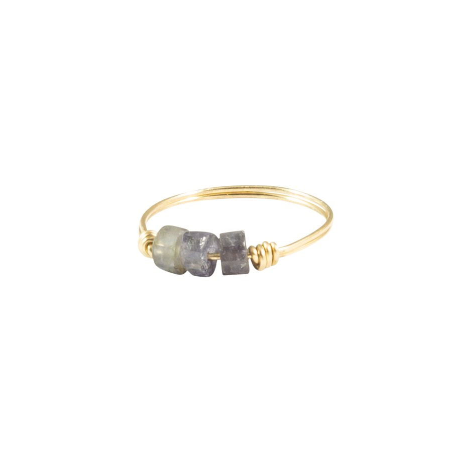 Iolite & Gold Intention Ring